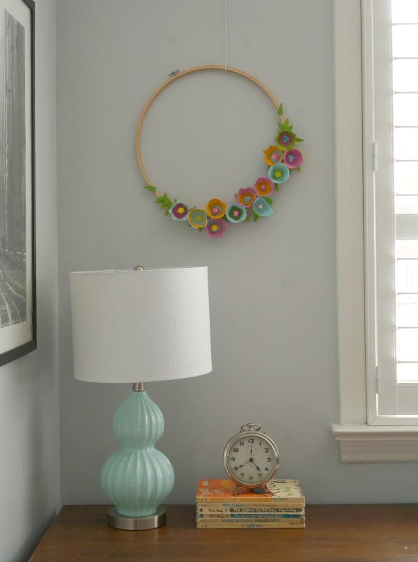 egg carton flower wreath hanging