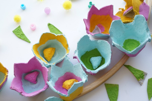 egg carton flowers painted pieces