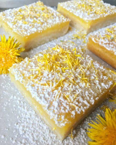 lemon dandelion bars