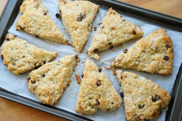baked banana bread scones on baking sheet