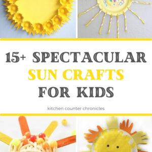 collage of sun crafts for kids paper plate sun egg carton sun weaving suns