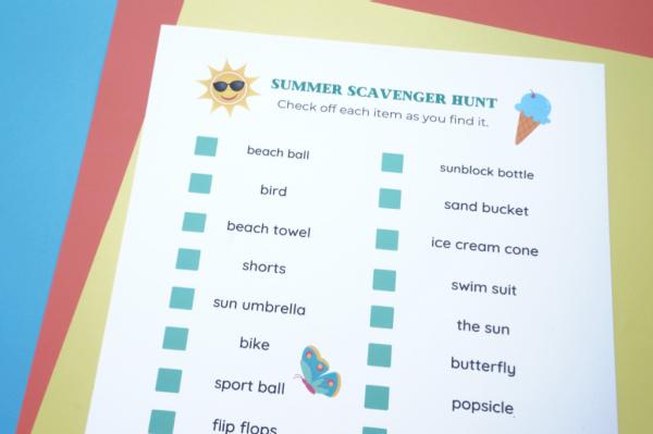 printable summer scavenger hunt printed on paper