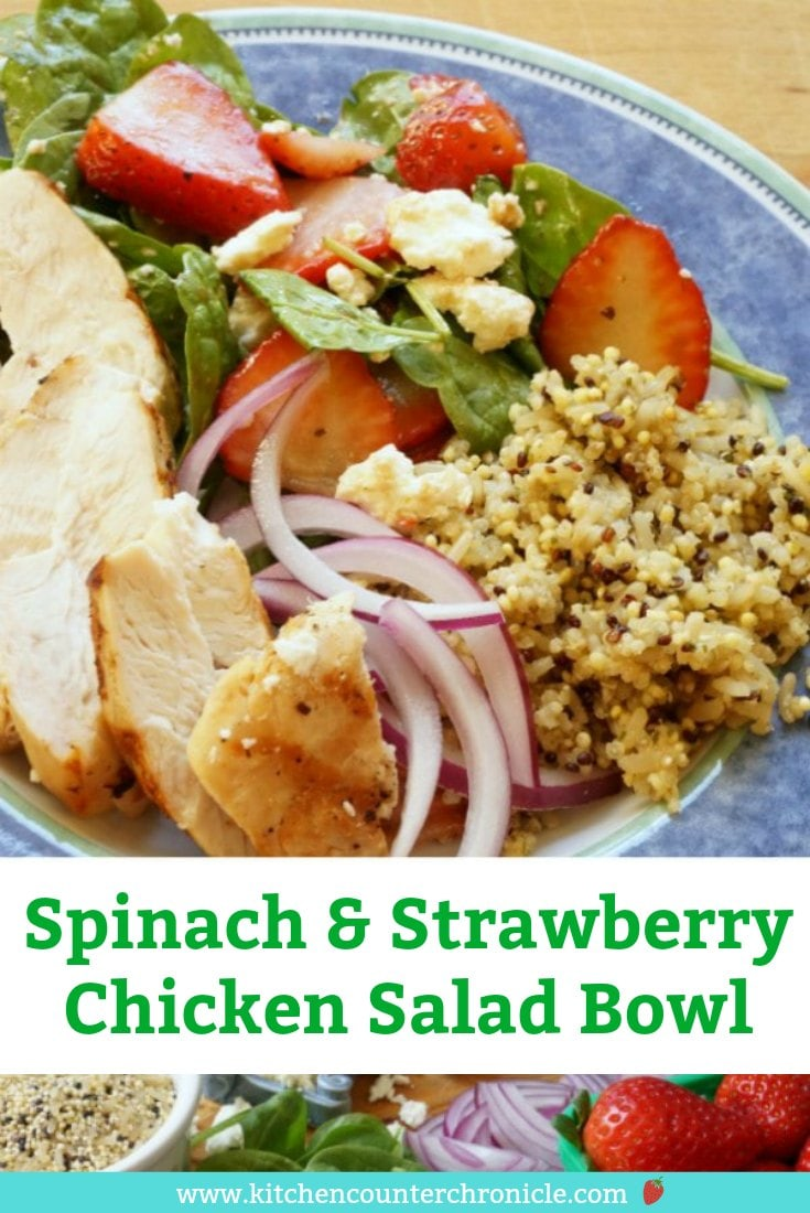 Eat your salad! How many times have I said this to my kids? The secret? Add delicious fruit to your salads. This super simple spinach and strawberry chicken salad bowl is packed full of flavour, protein, fibre and more. Everyone in the family will love it. #saladrecipe #strawberryrecipe #strawberrysalad #chickensalad #chickensaladbowl #saladbowl #kidfriendlyrecipe #dinner #lunchrecipes #spinachsalad #quinoa #quinoasalad #quinoarecipe