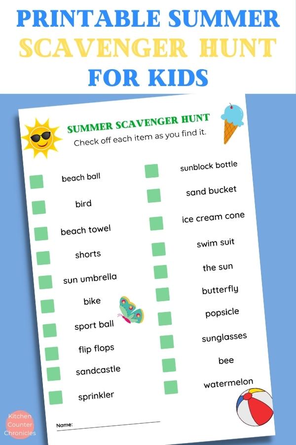 copy of summer scavenger hunt for kids on a blue background