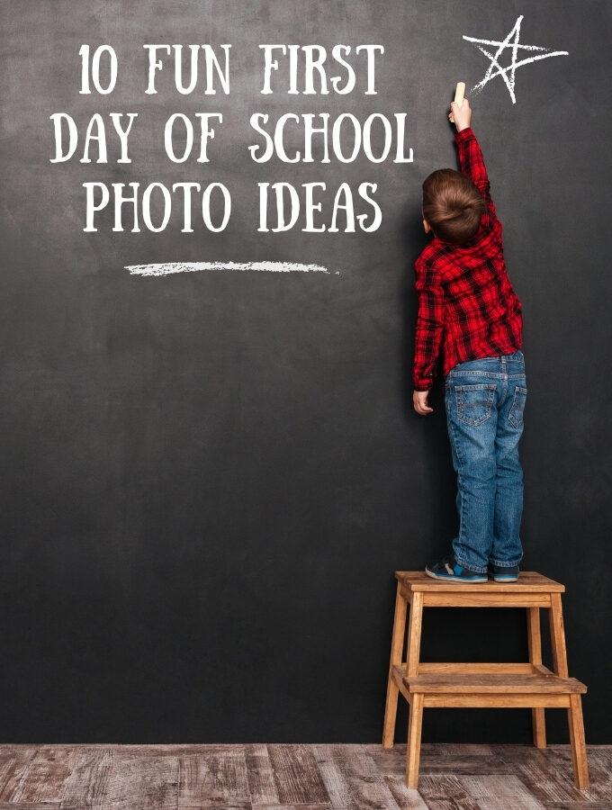 first day of school photo ideas with kid on stool writing on chalkboard