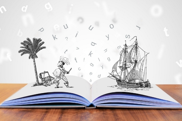 storytelling book with pirate popping out of the page