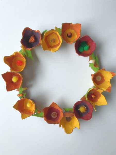 autumn flower wreath made from egg carton