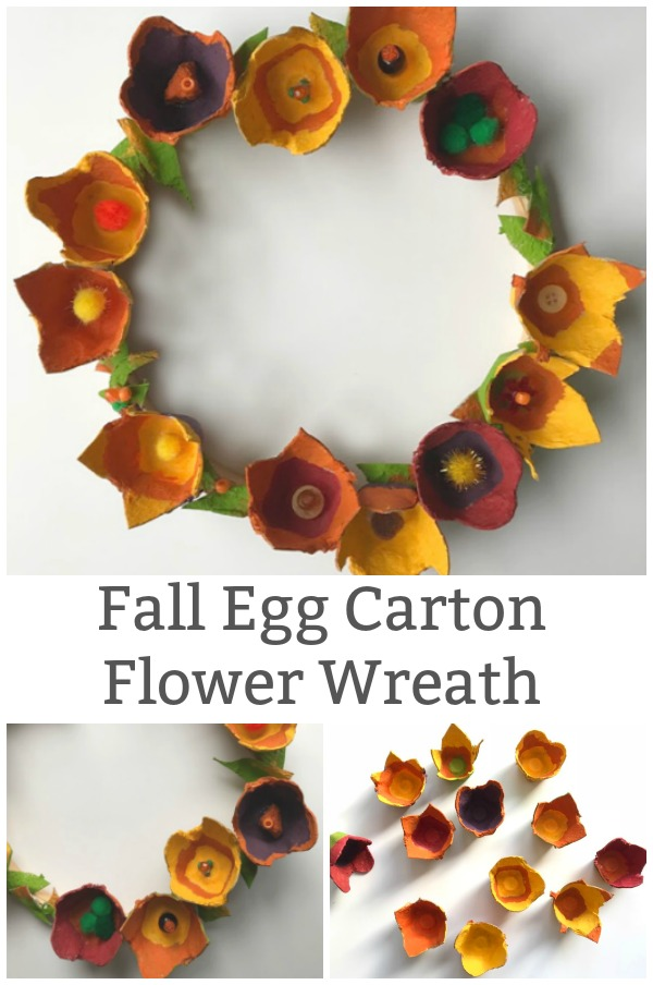 fall egg carton flower wreath