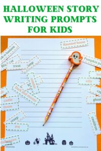 halloween story writing prompts for kids and halloween story paper pin image