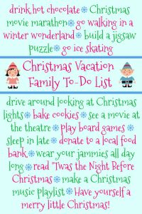 Christmas vacation to do list bucket list