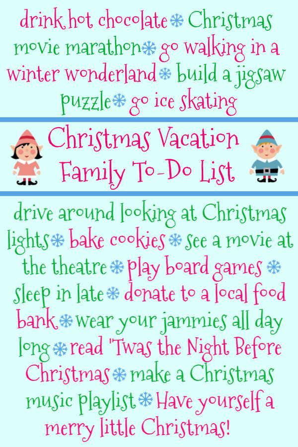Christmas vacation to do list bucket list
