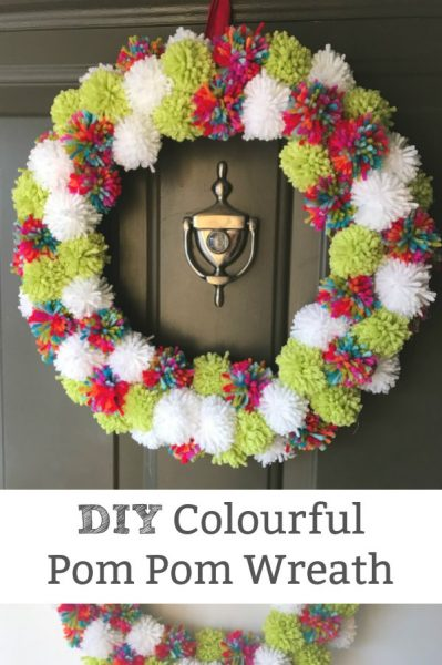 colourful pom pom wreath how to