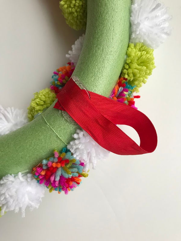 ribbon hanger glued on wreath back