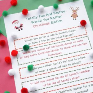 would you rather christmas game printed out with pom poms