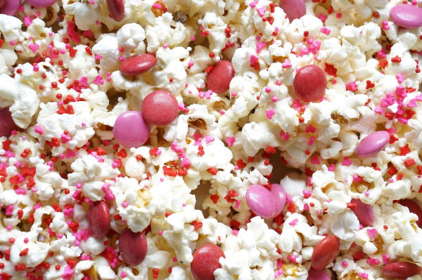 close up of valentine's day popcorn