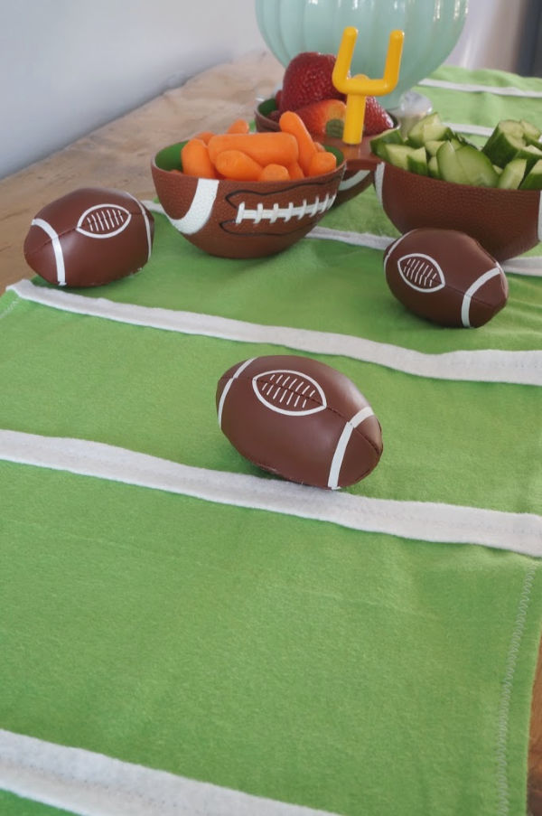 football field table runner with footballs