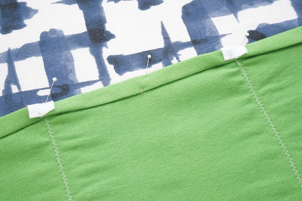 football field table runner hem pinned