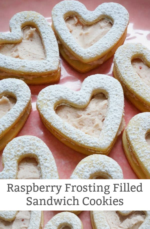 raspberry frosting sandwich cookies
