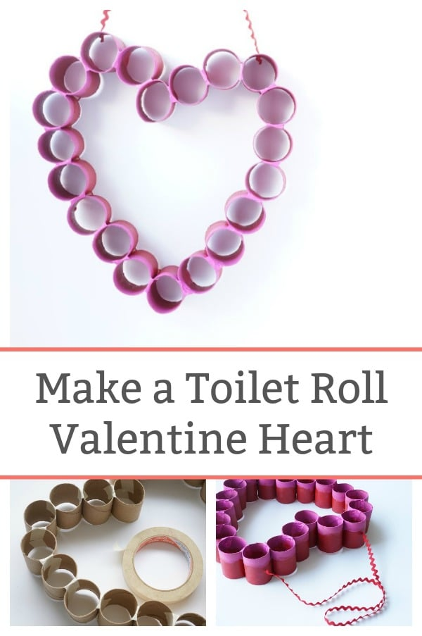 toilet paper roll valentine heart to hang on door or wall