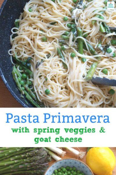 kid friendly pasta primavera with goat cheese