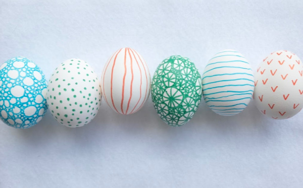 doodle easter eggs all lined up