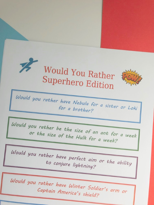 would you rather marvel questions