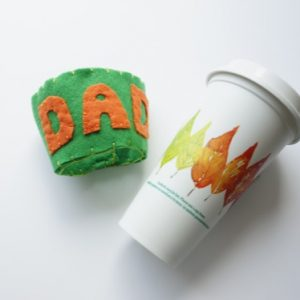coffee cup cozie with reusable coffee cup
