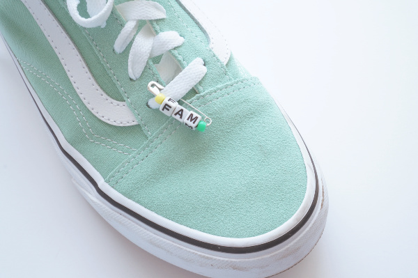 friendship pin on shoes