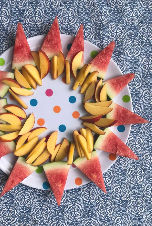 nectarines and watermelon on fruit platter
