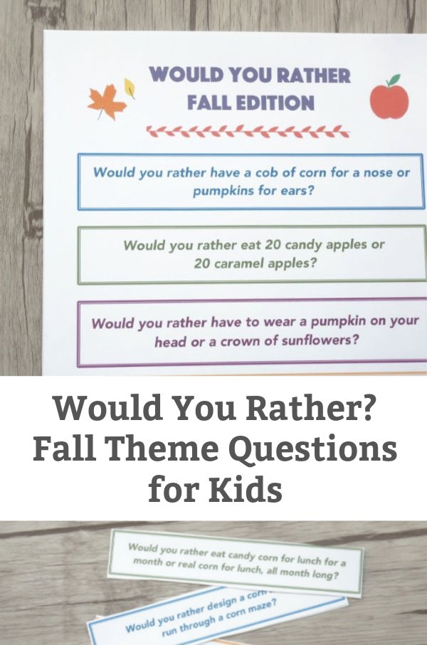 fall theme would you rather questions for kids featured image