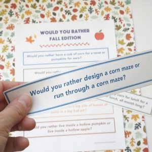 fall theme would you rather questions cut out in hand