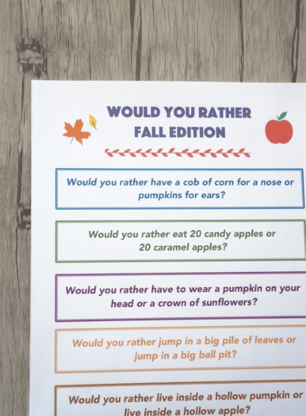 fall would you rather questions for kids close up