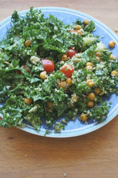 kale salad with pesto dressing