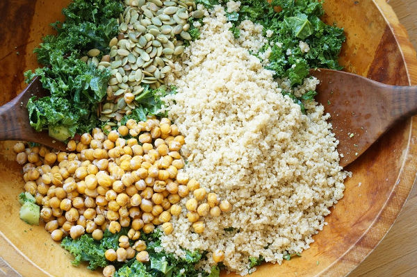 kale salad with pumpkin seeds quinoa and crispy chick peas
