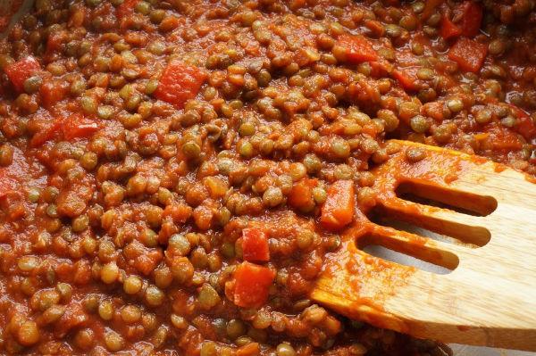 lentil sloppy joe cooked in skillet pan