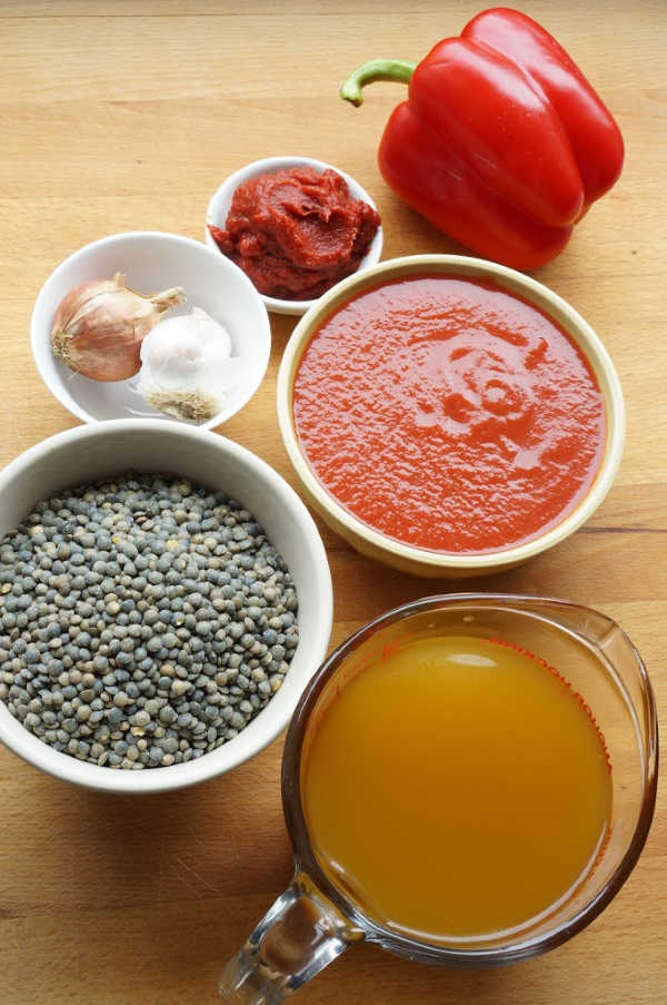 lentil sloppy joe ingredients on board