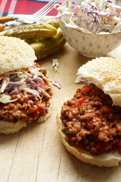 lentil sloppy joe on a bun with slaw