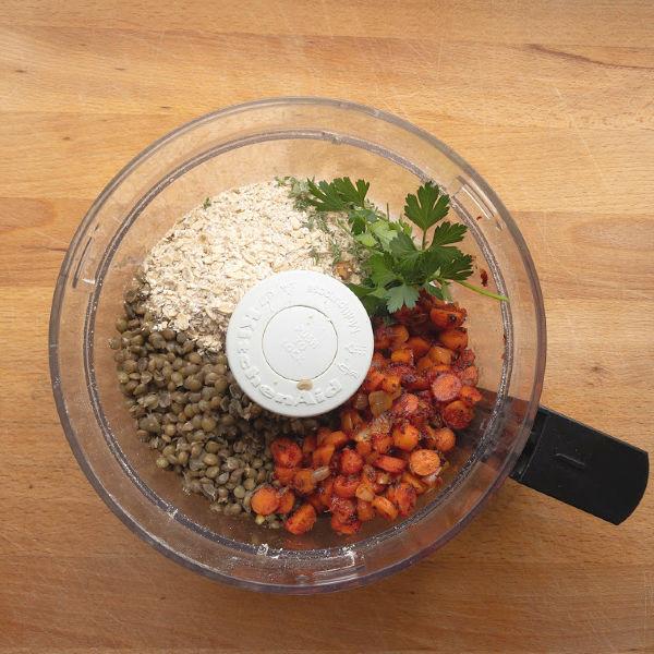 lentil meatloaf filling in the food processor