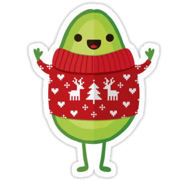 avocado in christmas sweater sticker