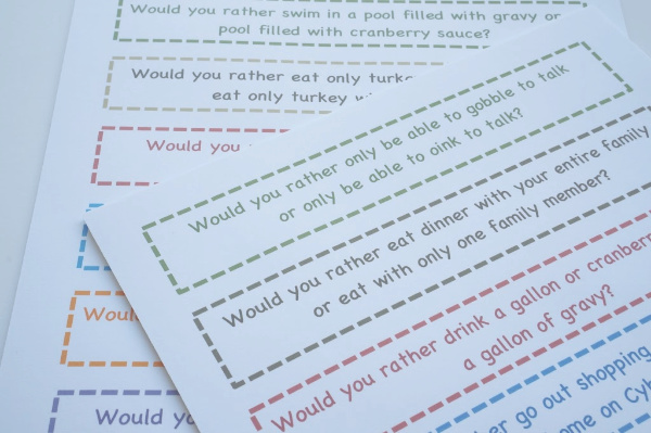 holiday thanksgiving would you rather questions printed out