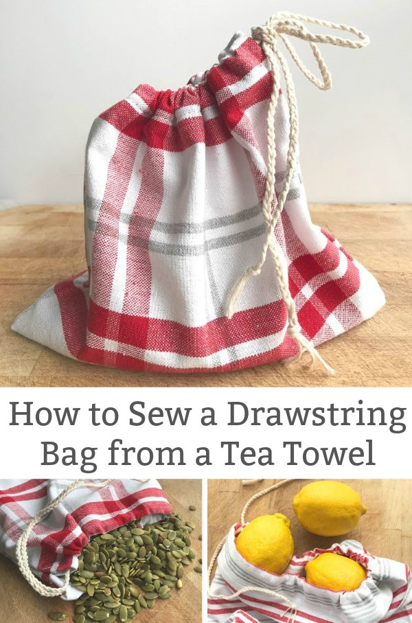 how to sew a reusable bag from a tea towel for produce bag
