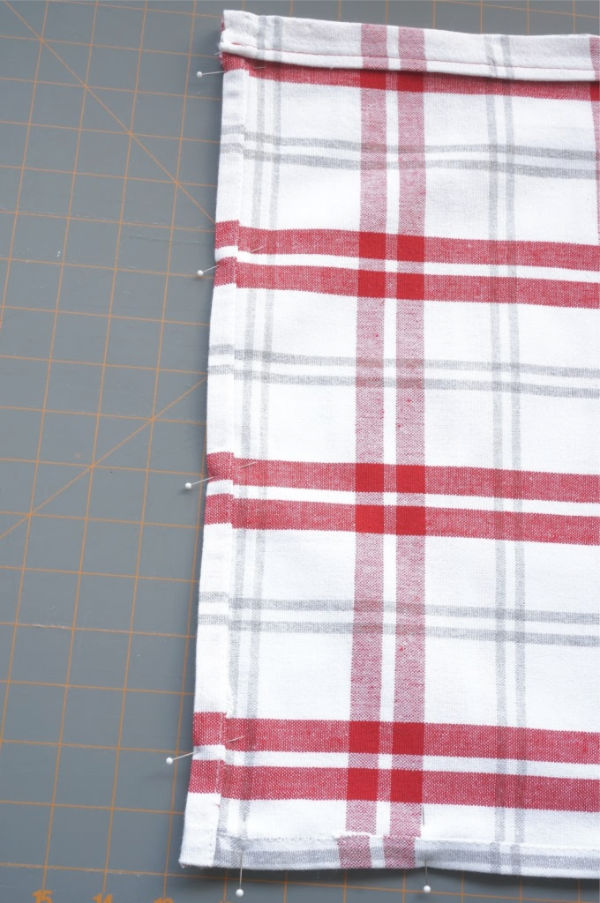 pinned seam of tea towel bag