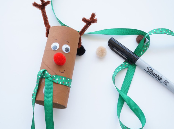 reindeer craft with smile and eye brows