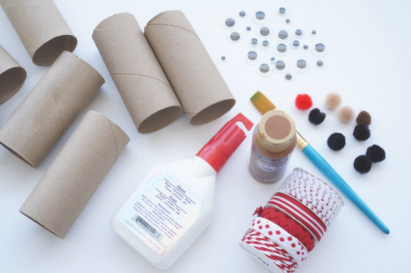 supplies for making toilet roll reindeer