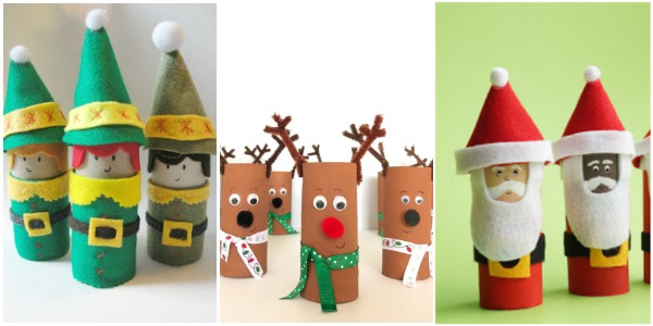 christmas toilet paper roll crafts elf, santa and reindeer
