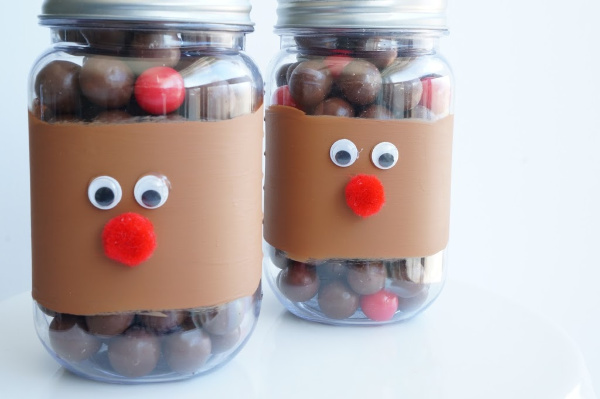 close up of reindeer noses in a jar