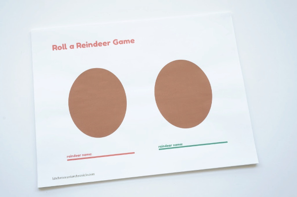 roll a reindeer game print out page 2
