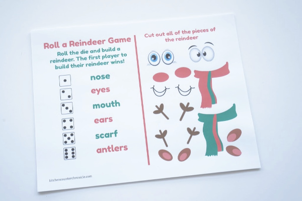 roll a reindeer game printed out page 1
