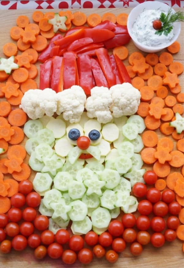 how to make a santa vegetable platter larger image