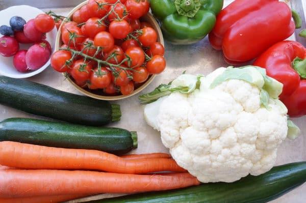 santa veggie tray ingredients on board